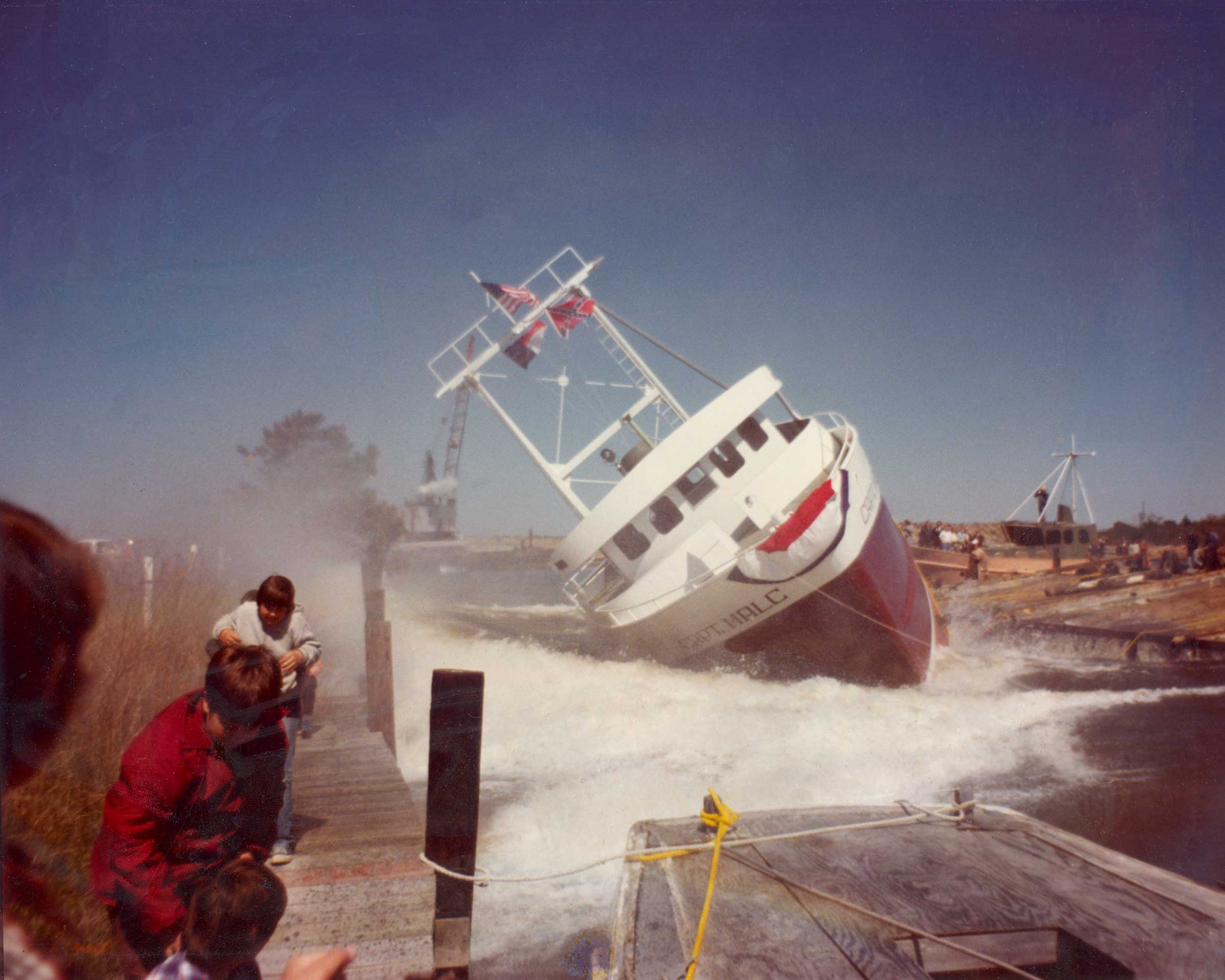 Side-launching Captain Malcom in 1979