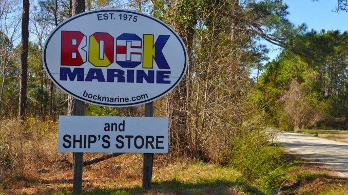Entrance to Bock Marine on Core Creek Road